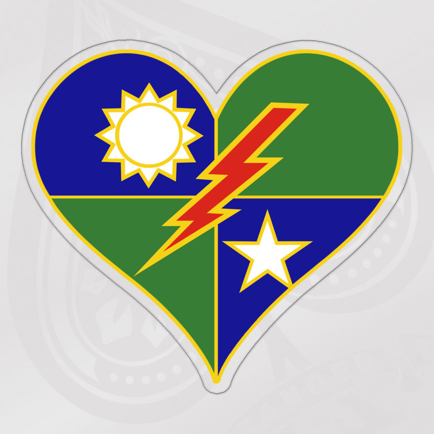 75th RGR RGT Heart Distinguished Unit Insignia Sticker